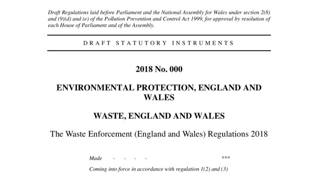 Draft Waste Enforcement (England and Wales) Regulations 2018