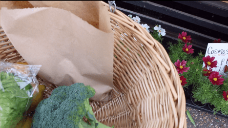 Shopping with a Wicker Basket