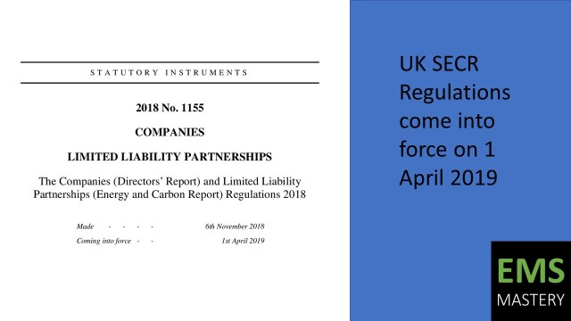 UK SECR Regulations come into force on 1 April 2019