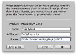 WordsFlow license dialog