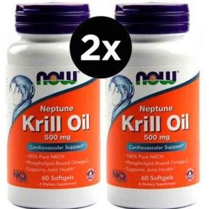 2X Óleo de Krill Neptune, Now Foods, 500 mg, 60 Softgels