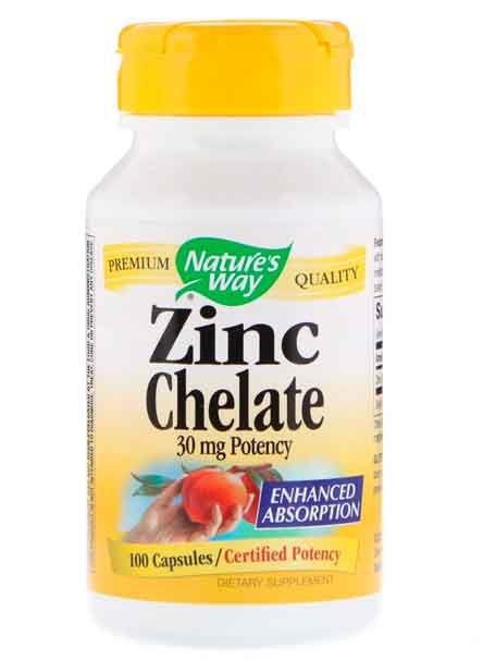 Quelato de Zinco, Nature's Way, 30 mg, 100 Cápsulas