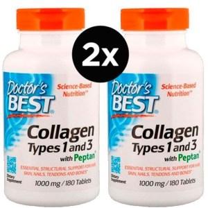 2x Colágeno 1000 mg – Doctor's Best – (Best Collagen, Types 1 & 3)  – 180 Tabletes