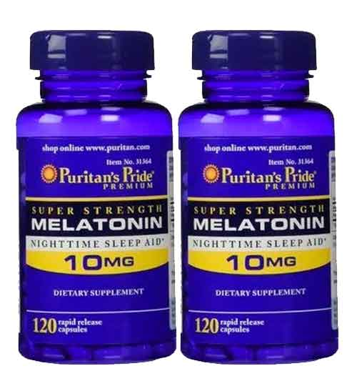 2X Melatonina 10mg Puritans Pride (Força Extra) 120 Cápsulas