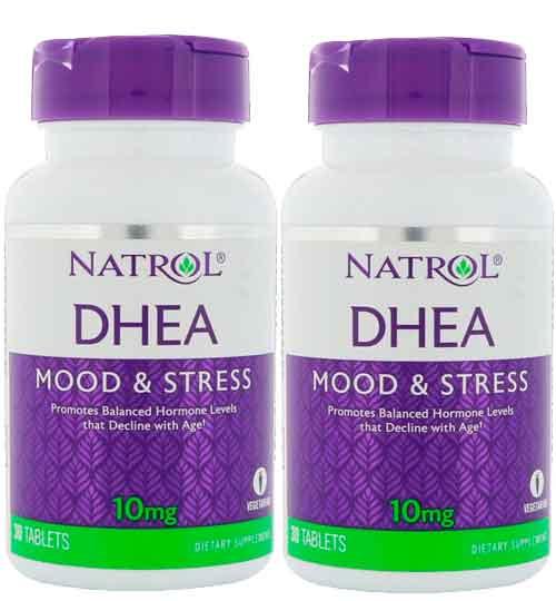 2X DHEA, Natrol, 10mg, 30 comprimidos