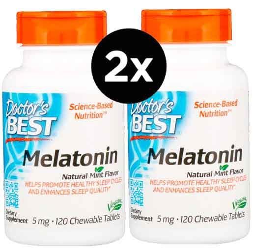 2X Melatonina 5mg, Doctor Best, 120 comprimidos Mastigáveis, Sabor Menta ( Total de 240 Comprimidos )