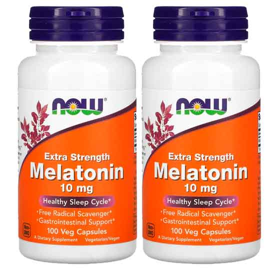 2X Melatonina 10mg Força Extra, Now Foods, 100 Capsulas vegetarianas