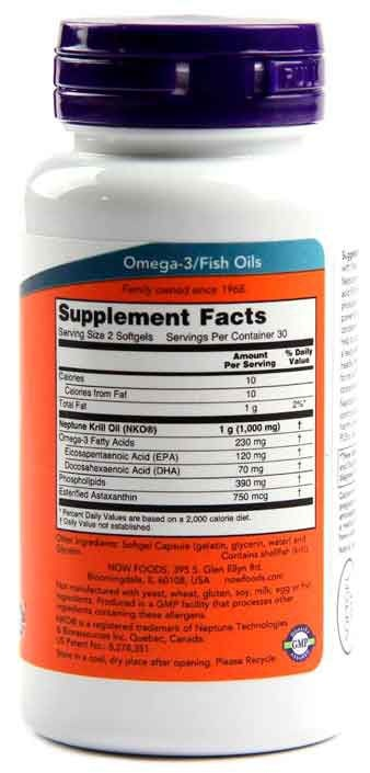 Óleo de Krill Neptune, Now Foods, 500 mg, 60 Softgels
