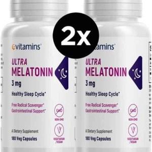 2X Melatoninas Evitamins, 3mg, 180 Capsulas (Total de 360 Capsulas)