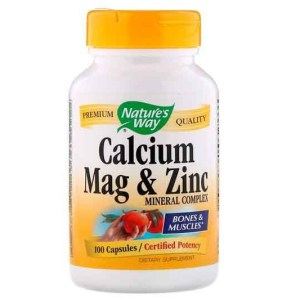 Cálcio, Magnésio e Zinc, Complexo mineral de Zinco, Natures Way, 100 Cápsulas