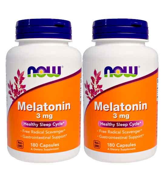 2x Melatonina 3 mg - Now Foods - 180 cápsulas