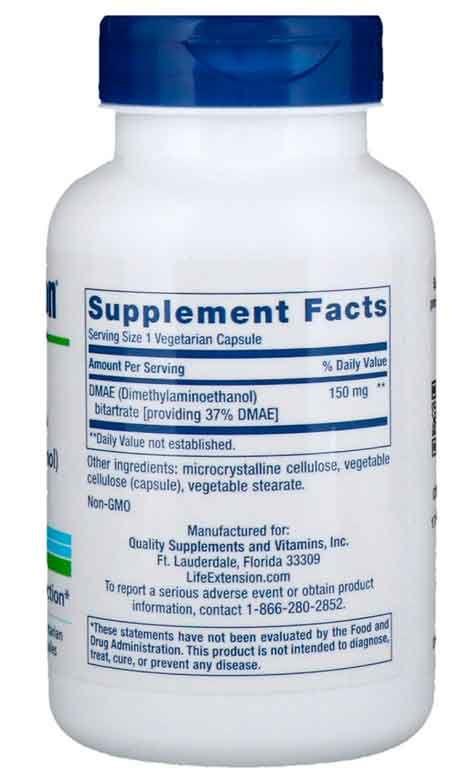 DMAE Bitartrato, Life Extension, 150 mg, 200 Cápsulas Vegetais