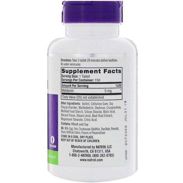 Melatonina 5mg Fast Dissolve Natrol 150 Comprimidos