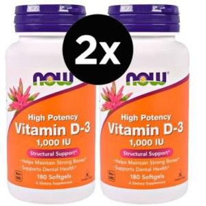 2X Vitamina D3, 1.000 IU, 180 Softgels – NOW Foods (Total de 360 capsulas)