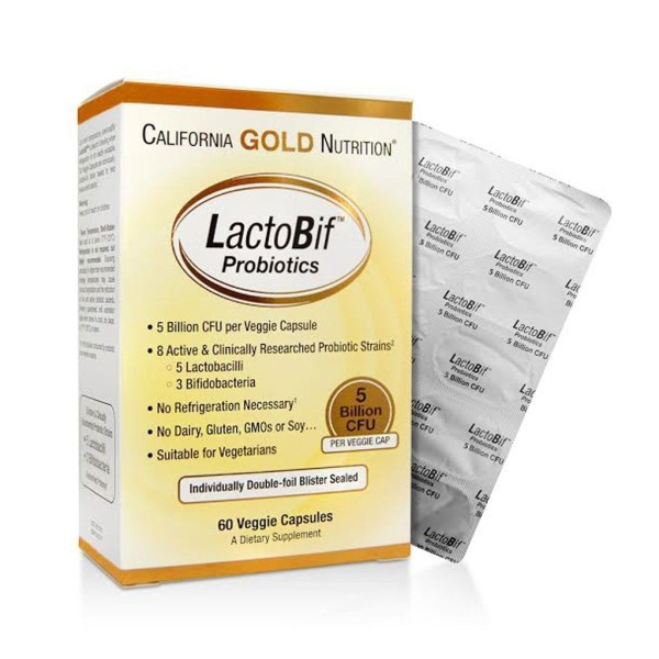 Probióticos LactoBif – California Gold Nutrition, 5 bilhões de CFU, 60 cápsulas