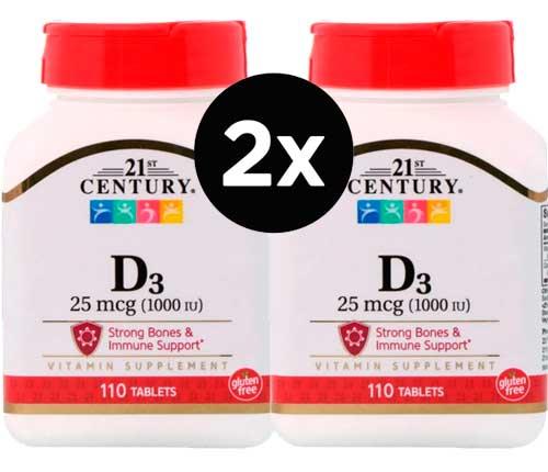 Vitamina D3,  (25 mcg) 1000 IU, com 110 comprimidos, 21st Century