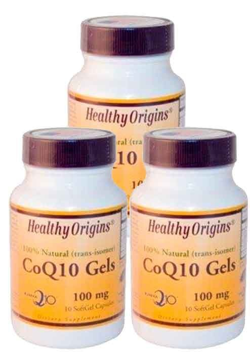 3 Potes de CoQ10 (Coenzima Q10) 100 mg  – Healthy Origins – 10 Cápsulas (Total de 30 Cápulas)