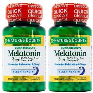 2X Melatonina 3mg Rápida Dissolução, Nature's Bounty – 120 comprimidos