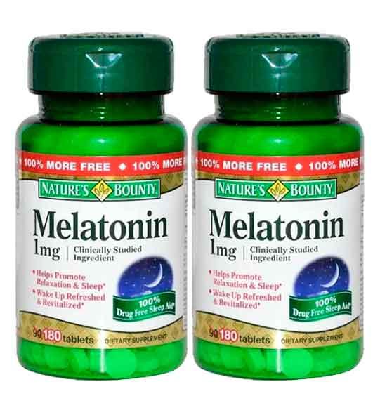 Melatonina Natures Bounty 1mg 180 Comprimidos 2 Frascos