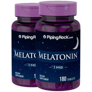 Melatonina 1 mg, Piping Rock, 180 Comprimidos, 2 Frascos