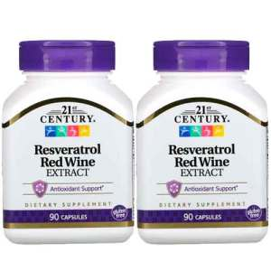Resveratrol Extrato de Vinho Tinto, 21 Century, 90 Cápsulas