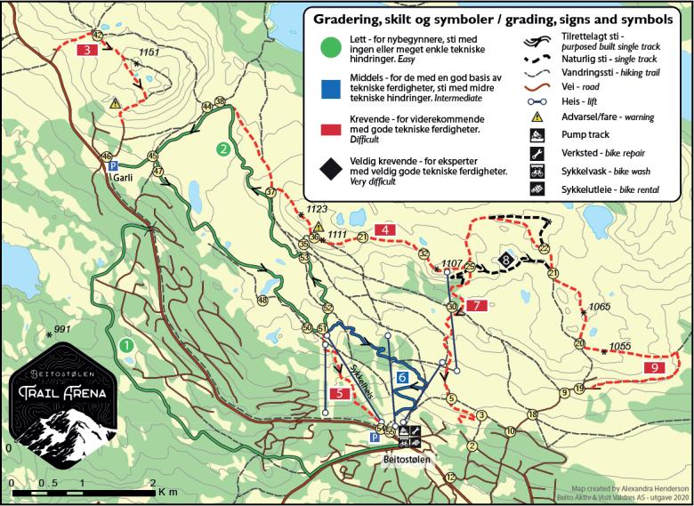 Beitostølen Trail Arena kart