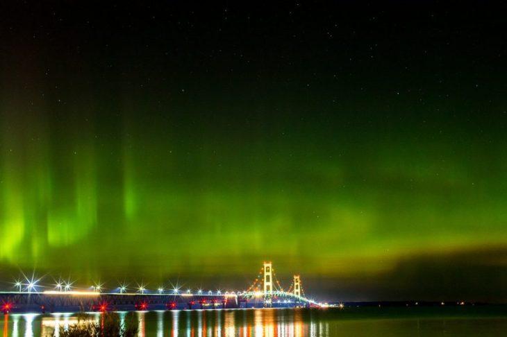Michigan Mackinac Bridge Northern Lights