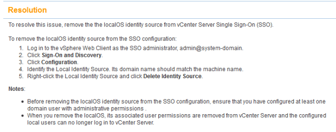 vCenter 5.1 SSO AD Autnehtication Resolution