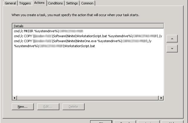 Ninite Desktop Actions Tab