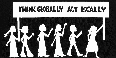 think local act global logo from 'An Earth Charter and Agenda 21 for Iowa'
