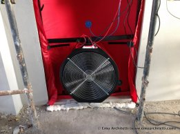 A blower door test on one of our buildings