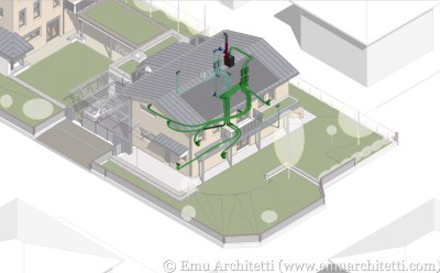 3D model of a passive house, with the ventilation system highlighted.