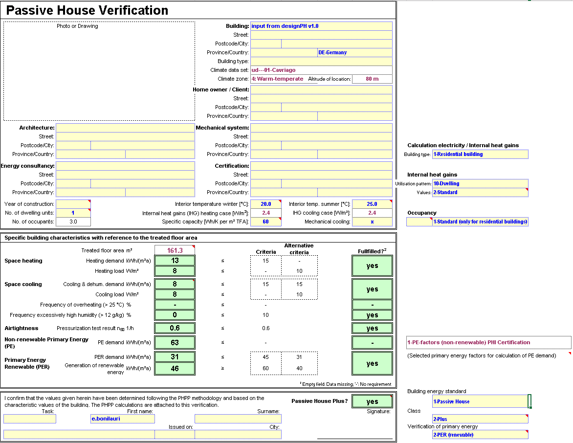 PHPP 9 Verification sheet