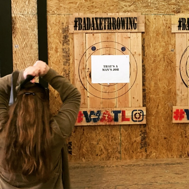Mariana, throwing an axe at construction industry preconceptions. #badaxethrowing @tradecraftindustries