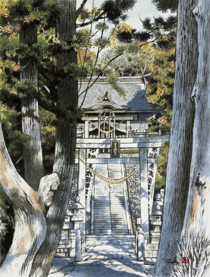 太田神社(墨彩画)