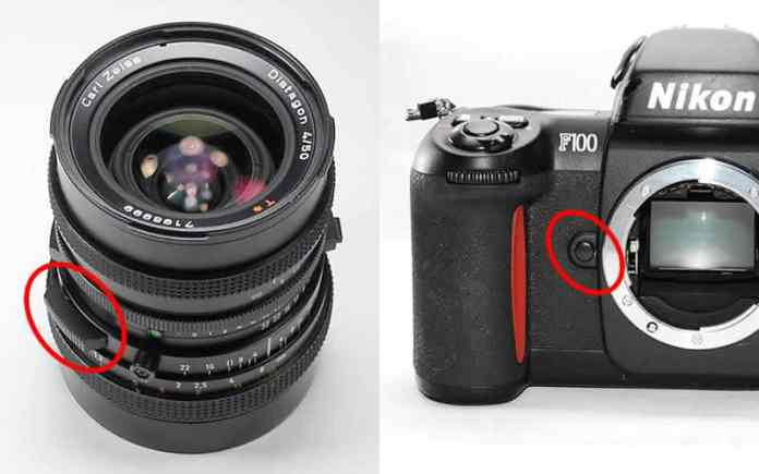 Here you can see examples of depth of field preview buttons on a lens (left) and camera body (right).