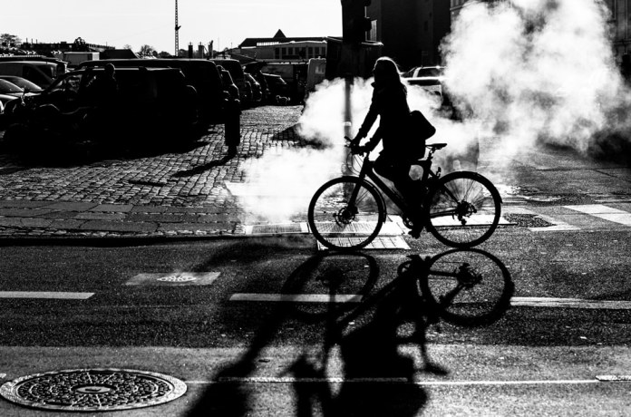 A bike and some damp on a chilly October morning in Copenhagen.