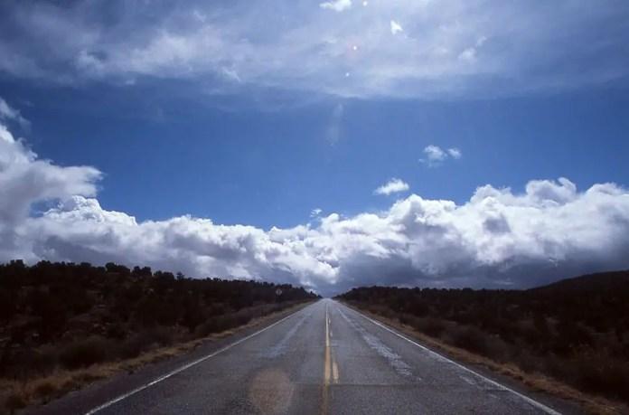 Snow evaporates on Highway 261 - Southern Utah. Minolta XE-7, Rokkor-PF 58mm f/1.4, Fuji Provia 100F