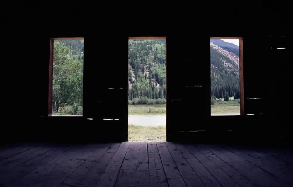 Partially-restored cabin, interior - Capitol City, Colorado. Nikon F3, Nikkor 20mm f/4.0, Kodak Ektar 100