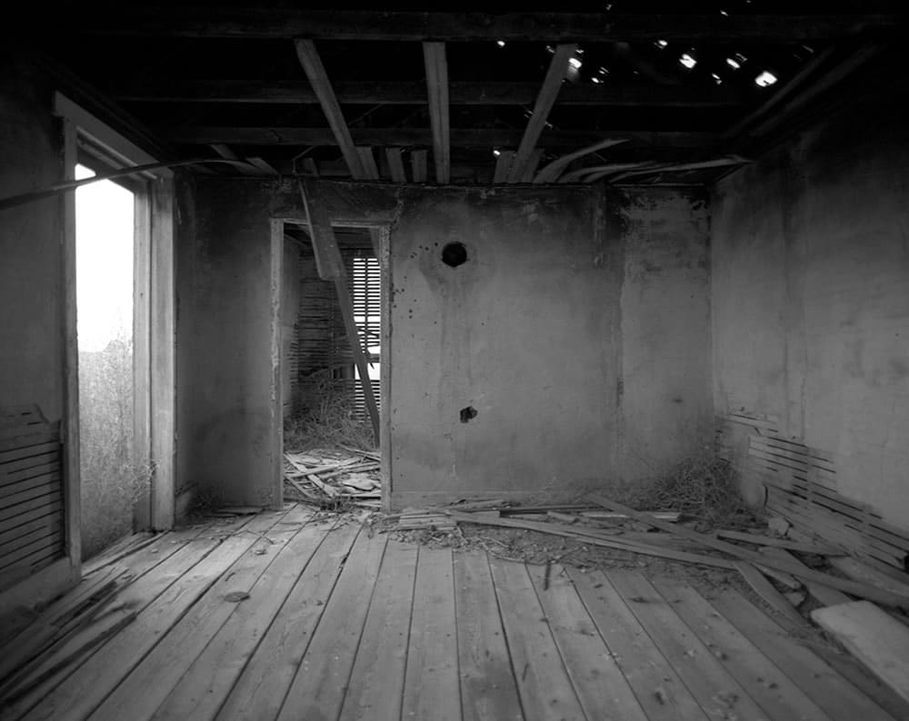 Interior, abandoned home - Arlington, Colorado. Pentax 6x7, 45mm f/4, Ilford Pan F Plus.