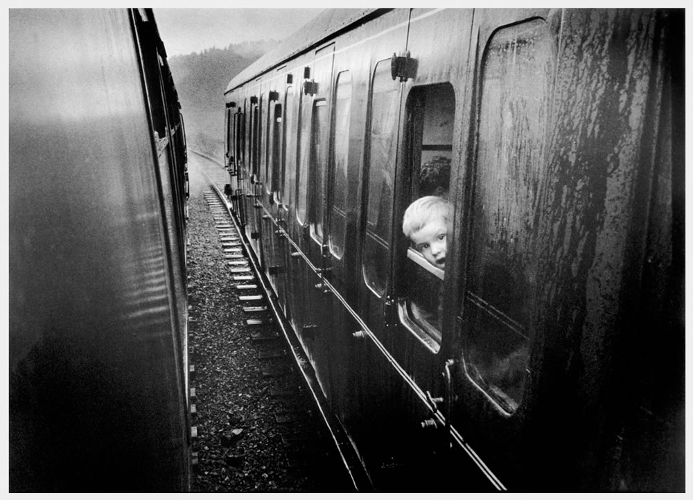Boy at train window