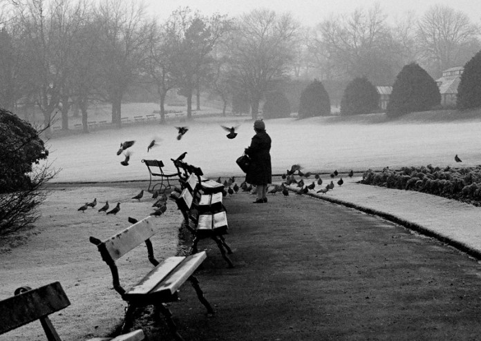 Pigeon lady, Glasgow Botanic Gardens -Canon EF, Ilford FP4