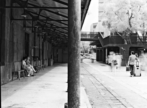 Waiting zone - Rollei Superpan 200 shot at ISO3. Black and white negative film in 120 format shot as 6x4.5. R72 720mn infrared filter.