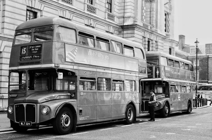 Routemaster Buses - Olympus OM-1n, 28mm, Ilford XP2 Super