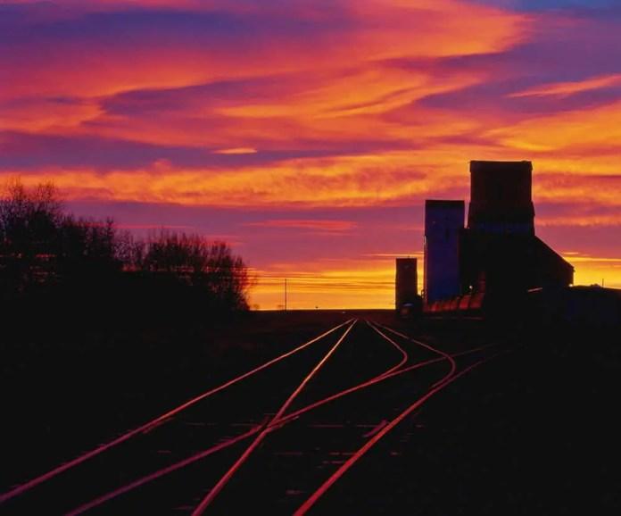 Ponteix Sunrise - Early winter morning, Saskatchewan. Mamiya 645 Pro and Fujichrome transparency film
