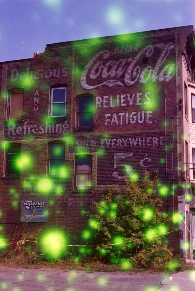 Coca-Cola ghost sign - Nikon EM camera, Vivitar 19mm f/3.8 lens, Revolog Volvox film.