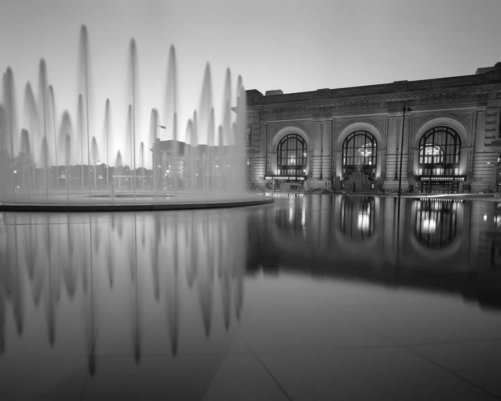 Kansas City Union Station reflected. Kodak T-max 100. 150mm lens.