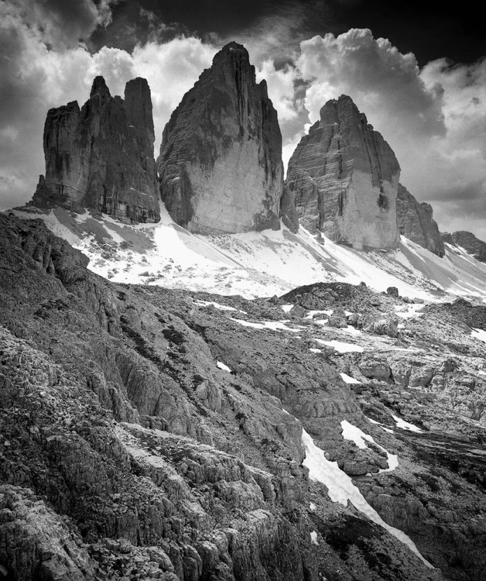 Clouds on the Tre Cime of Lavaredo - Mamiya 7ii - Ilford FP4 Plus
