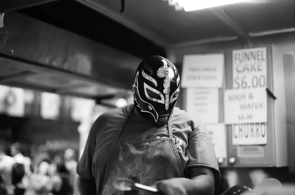 """Booyaka"" Ilford Delta 100 - San Gennaro Feast, Manhattan, New York"