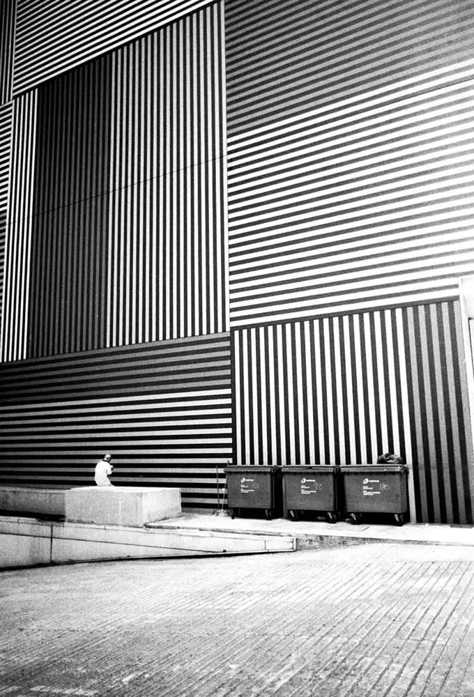 Man and bins, Singapore - Leica M6 / 28mm Elmarit / Ilford HP5+ / Ilford HC